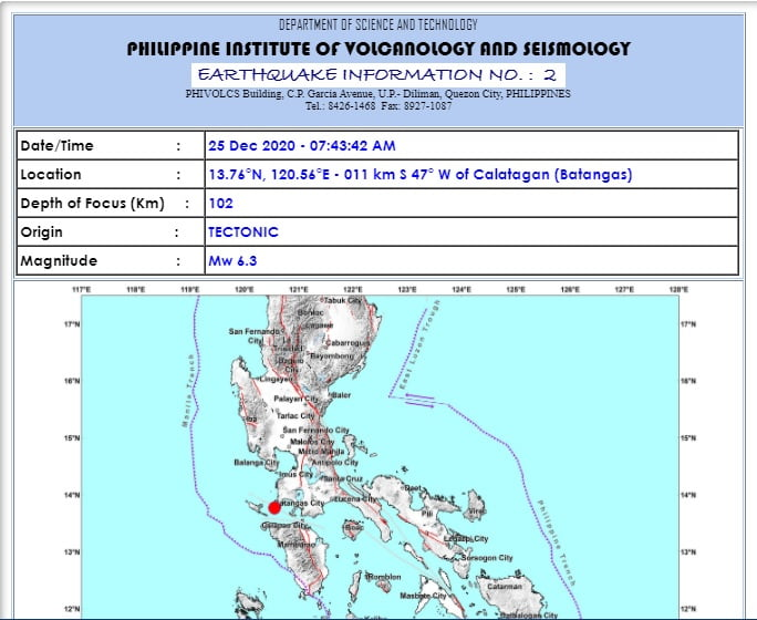 6.3 quake in Batangas jolts early morning of Christmas day