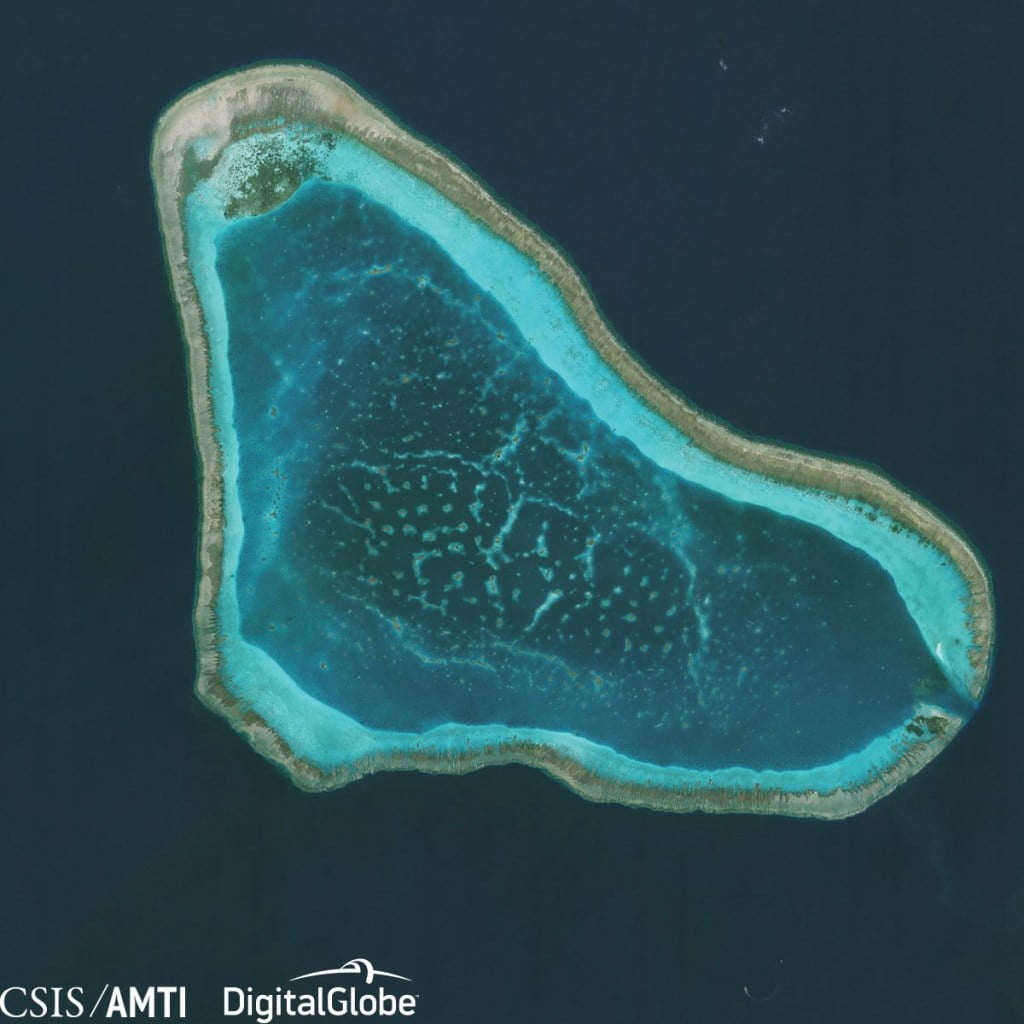 China-Philippines sea row: The aerial view of Scarborough Shoal