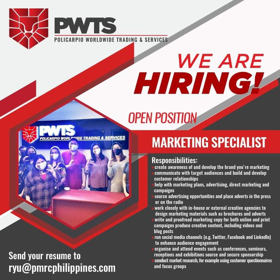 Job Vacancy: Marketing Specialist