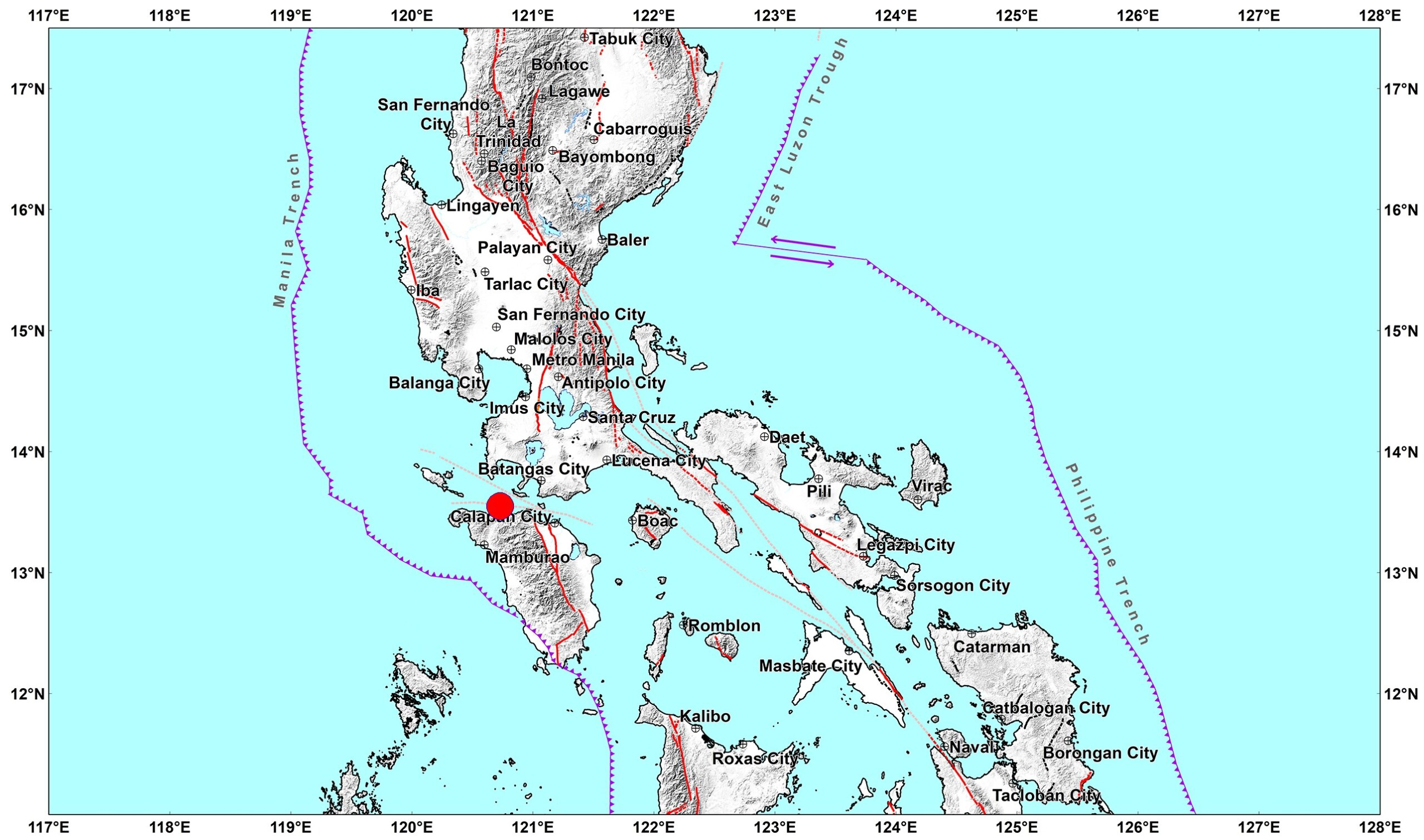 A magnitude 5.8 earthquake hits Abra De Ilog, Occidental Mindoro at 9:09 a.m. today, according to Phivolcs. Aftershocks are expected.